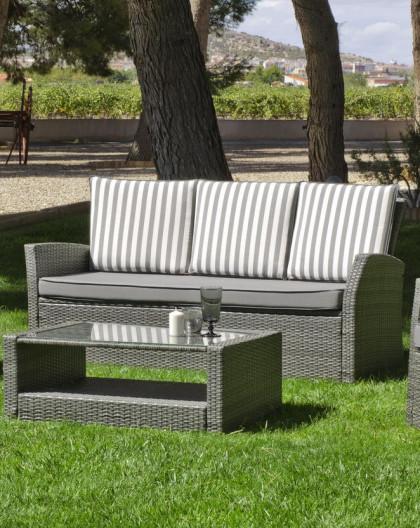achat ventesalon de jardin gris raye avec canape 3 places hevea mobilier de jardin