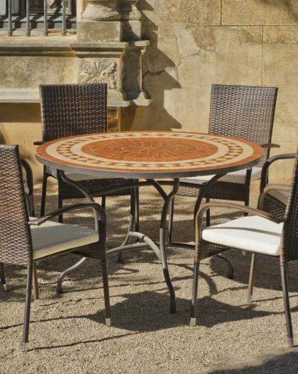 salon de jardin lorny bergamo 4 places table mosaique hevea mobilier de jardin