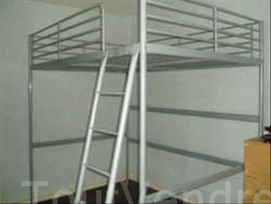 lit mezzanine 2 places en metal gris