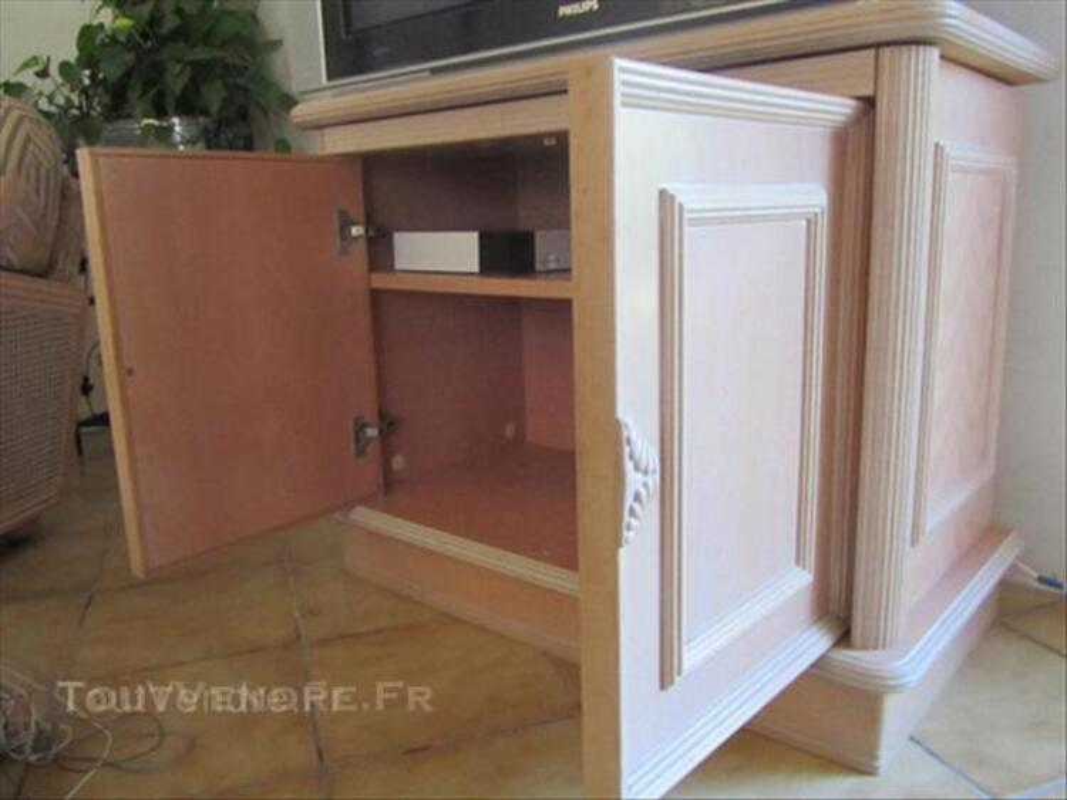 meuble tv hifi hetre ceruse rose tres
