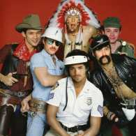 Darren Criss, Mark Salling, Chris Colfer, Cory Monteith, Harry Shum, and Chord Overstreet as the 'Village People': PHOTO