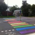 Crosswalk at Russian Embassy in Sweden Painted Rainbow Colors in Protest of Anti-Gay Laws: PHOTO