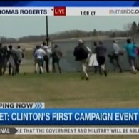 Media Stampedes Toward Hillary Clinton's 'Scooby' Van in Iowa: VIDEO