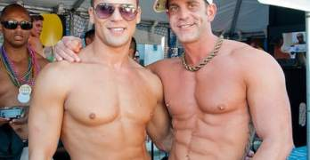 Men, promoting Steamworks, the local gay men's sauna in Chicago, ManAboutWorld gay travel magazine