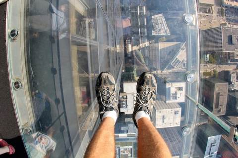 Glass floor at Skydeck, Willis Tower, Chicago, ManAboutWorld gay travel magazine