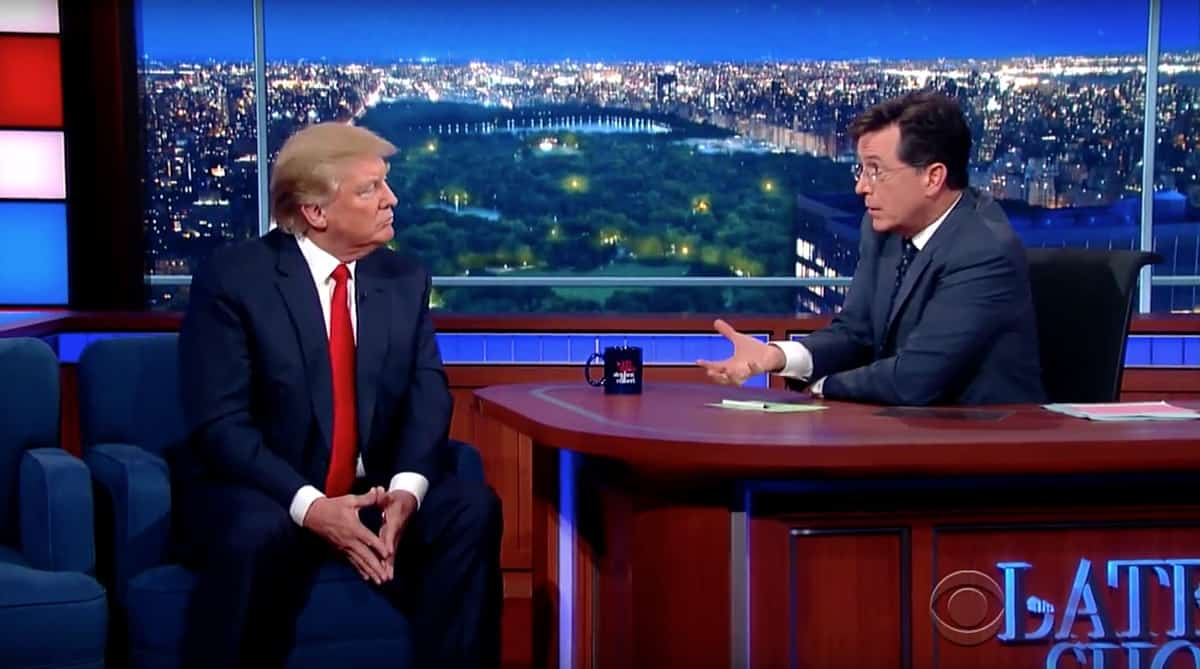 Donald Trump Stephen Colbert birther question