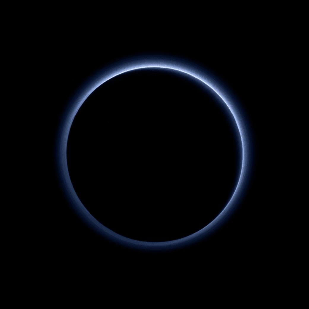 Pluto has a blue sky