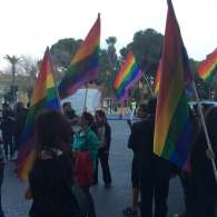Gay rights activists and supporters of the civil partnership bill in front of the House on Nov. 26.