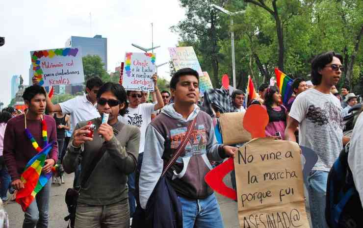 Protesters for gay marriage at the 2009 Marcha Gay in Mexico City gay marriage mexico