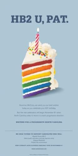 Pat McCrory hb2u birthday cake
