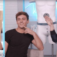 Tyler Oakley Plays Some Man Candy Games with Tom Daley and Scott Eastwood – WATCH