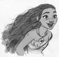 "Walt Disney Animation Studios' artist Jin Kim showcases the look of the title character in the upcoming adventure ""Moana."" Says director Ron Clements, ""Moana is a vibrant, tenacious 16-year-old growing up on an island where voyaging is forbidden. But Moana has been drawn to the ocean since she can remember and is desperate to find out what's beyond the confines of her island."" Directed by Clements and John Musker and featuring the voice of Native Hawaiian newcomer Auli'i Cravalho in the title role, ""Moana"" opens nationwide on Nov. 23, 2016. ©2015 Disney. All Rights Reserved."