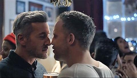 two men kissing