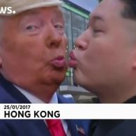 Donald Trump and Kim Jong-un Lock Lips In Hong Kong: VIDEO