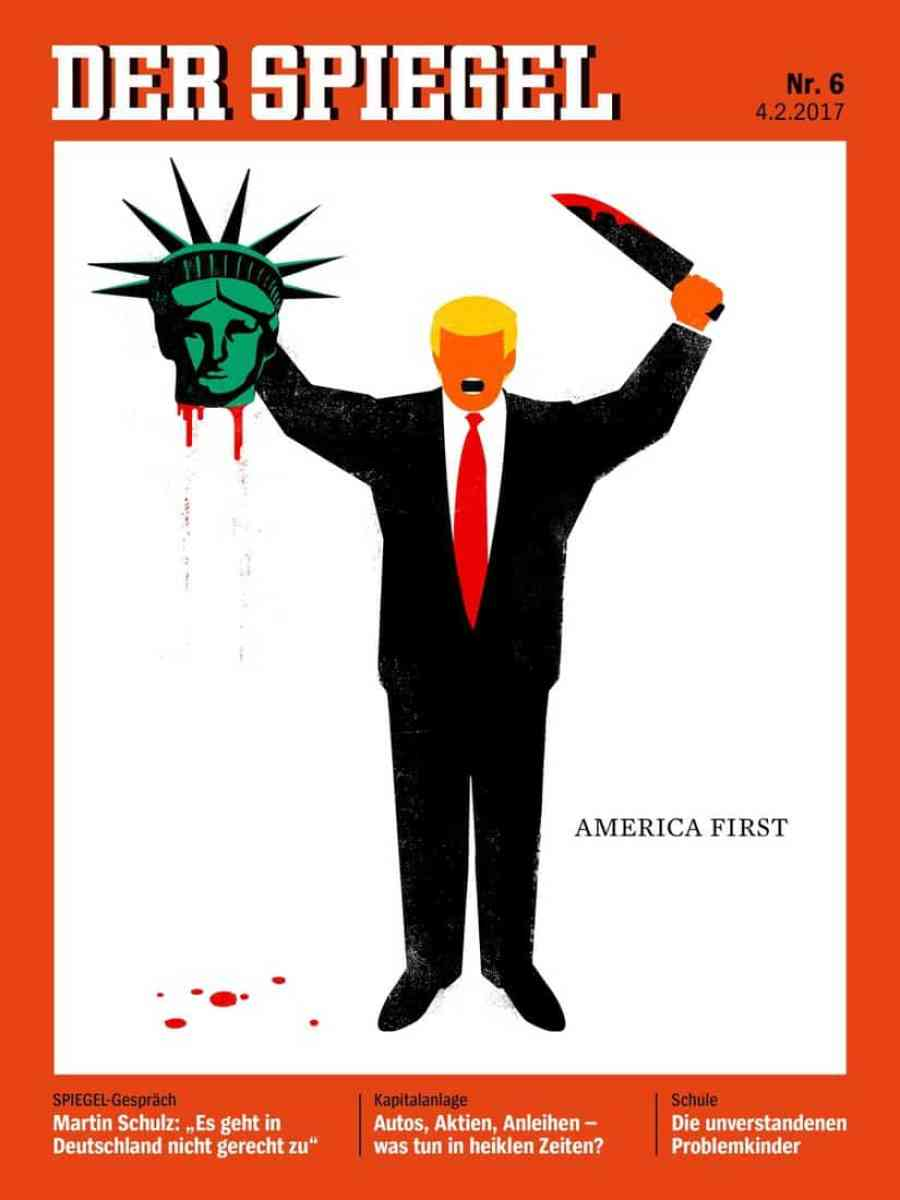 Edel Rodriguez's cover for Der Spiegel magazine on Feb. 4 sparked worldwide controversy. Credit: Courtesy of Edel Rodriguez