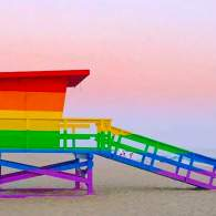 rainbow lifeguard tower
