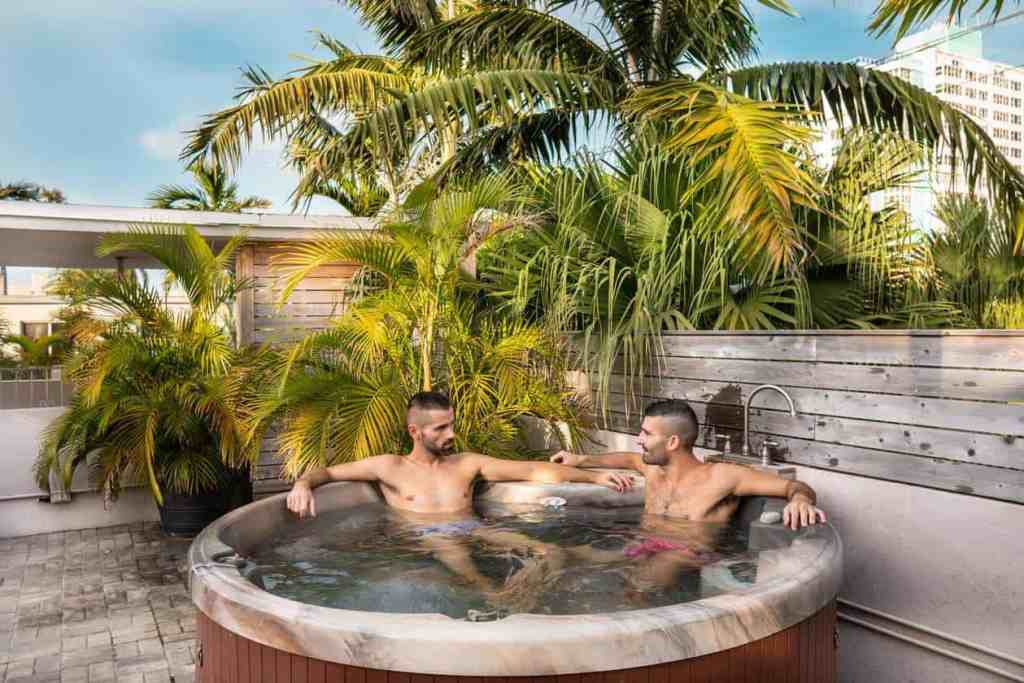 Gay couple in Jacuzzi of the Grand Resort & Spa