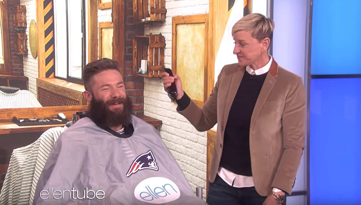 Ellen DeGeneres shaves Julian Edelman's beard for a good cause