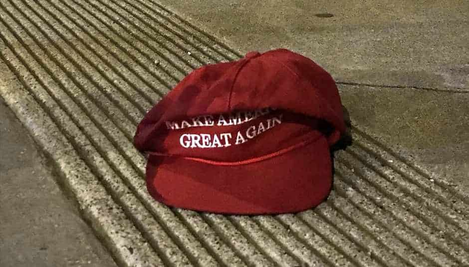 Image result for discarded MAGA hat photos