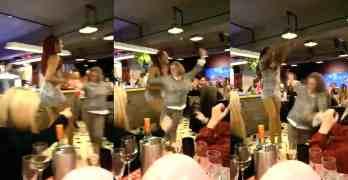 drag queen shoves woman