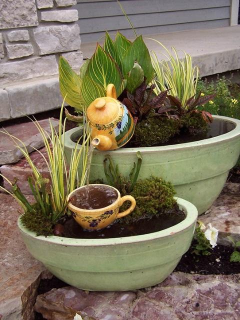 Overflowing Teapot Container Water Garden
