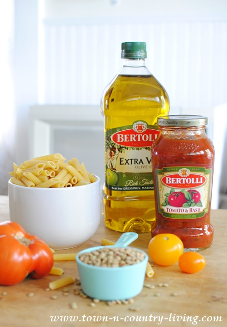 Ingredients for Pasta Pomodoro with Lentils