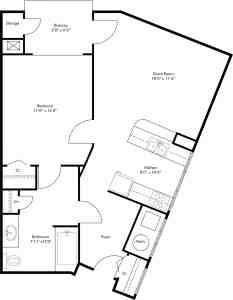 1 Bed / 1 Bath / 770 sq ft / Rent: Please Call