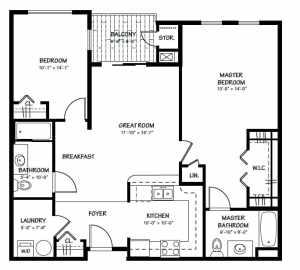 2 Bed / 2 Bath / 1,123 sq ft / Rent: Please Call