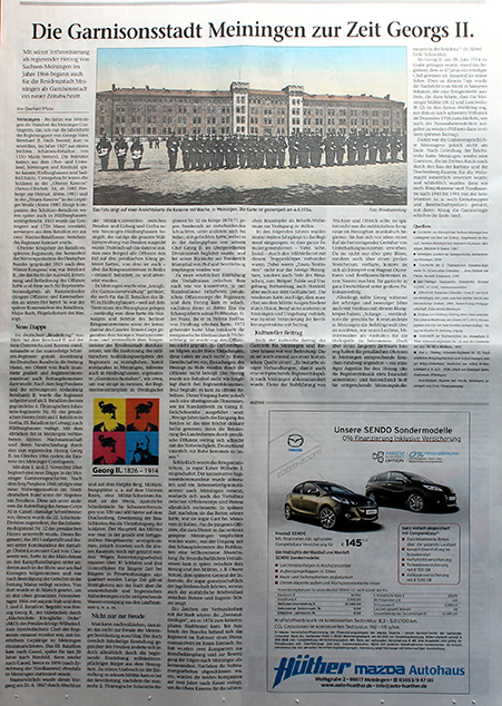 "Press about Eberhard Pfister Meininger Tageblatt, 14.6.2014 ""Garnisonsstadt Meiningen"""
