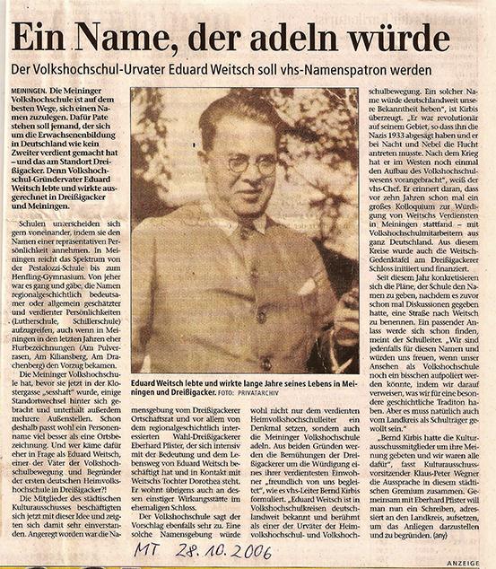 """Press about Eberhard Pfister Meininger Tageblatt, 28.10.2006 """"Eduard Weitsch, Erfinder der Volkhochschule"""""""