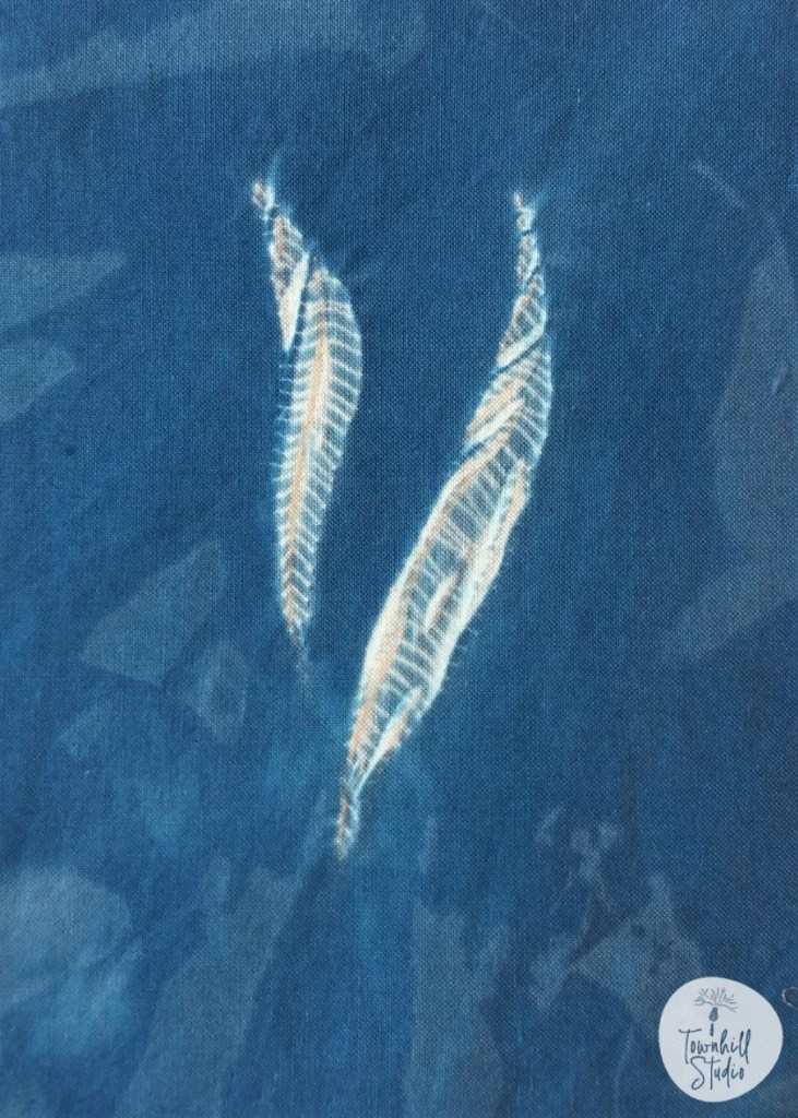 indigo dyed guntai shibori shapes