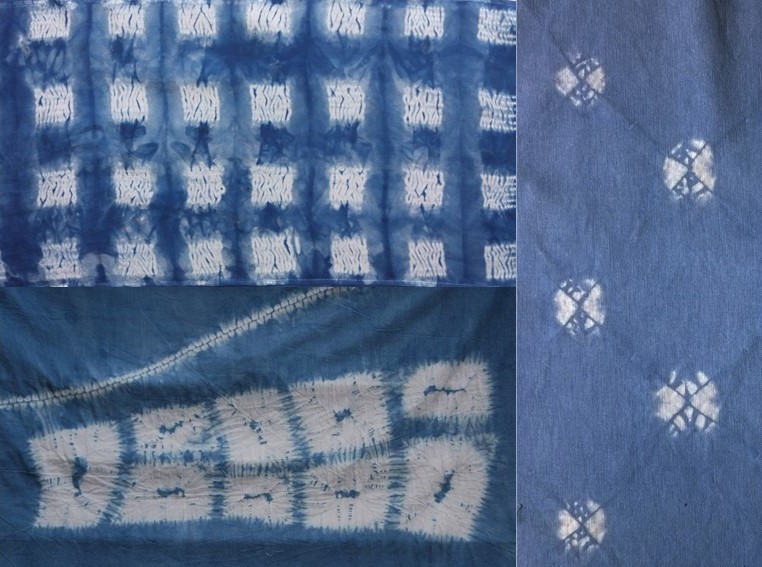 3 different fabrics of shibori spots and squares in blue