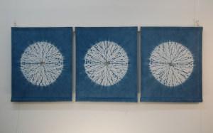 Indigo circles Triptych 140 x 60 cms