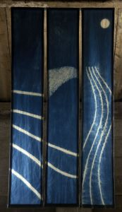 Landscape Elements I triptych 210 x110cms indigo