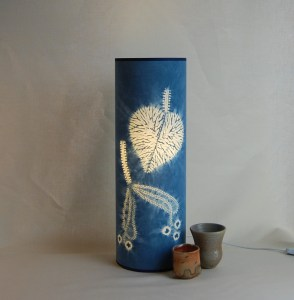 Lime leaf lamp 60 x 20 cms Indigo dyed cotton