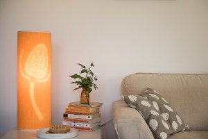 Orange teasel table lamp