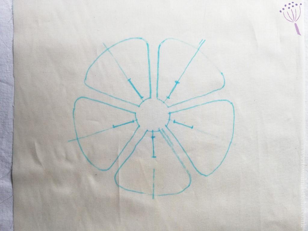 drawing for shibori flower pattern