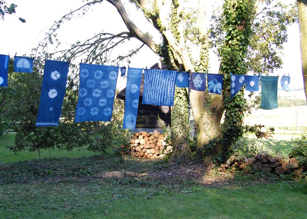 Display of shibori fabrics