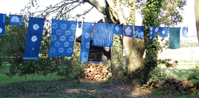 Display of shibori fabrics