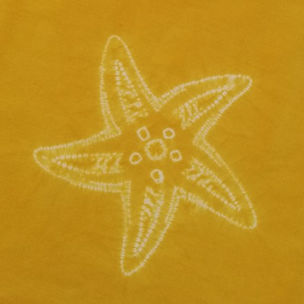 stitched shibori starfish dyed and completed design