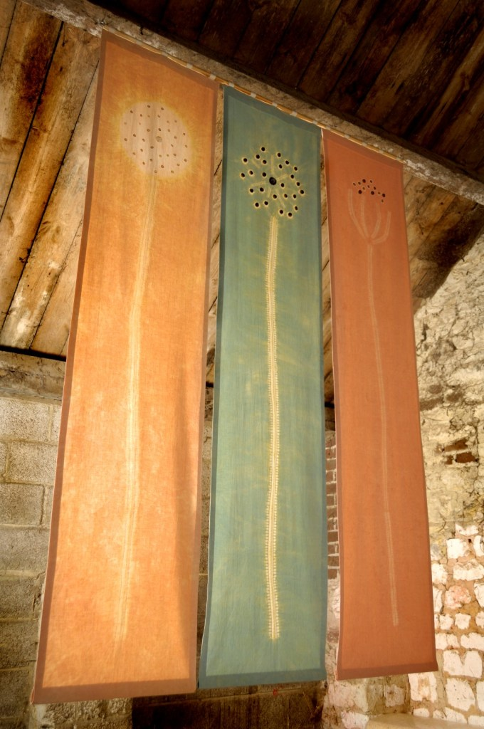 clay dyed shibori hanging