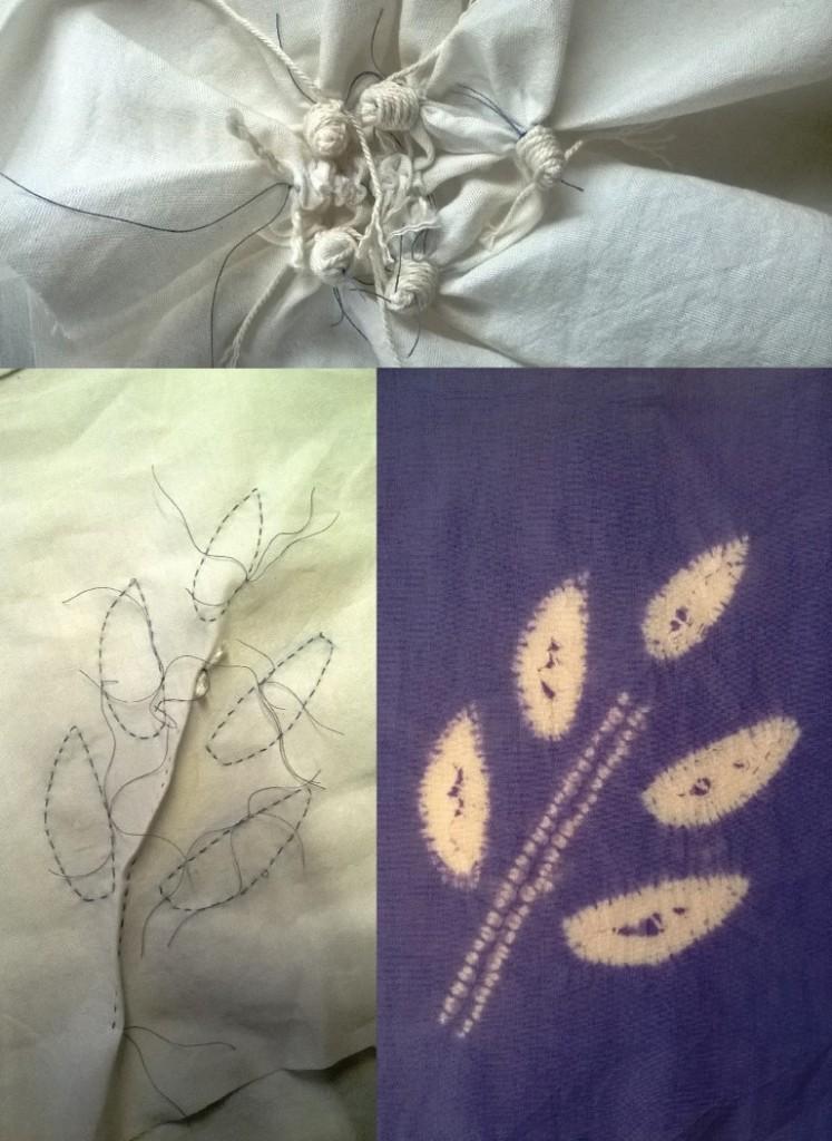 maki-age shibori leaf sprig
