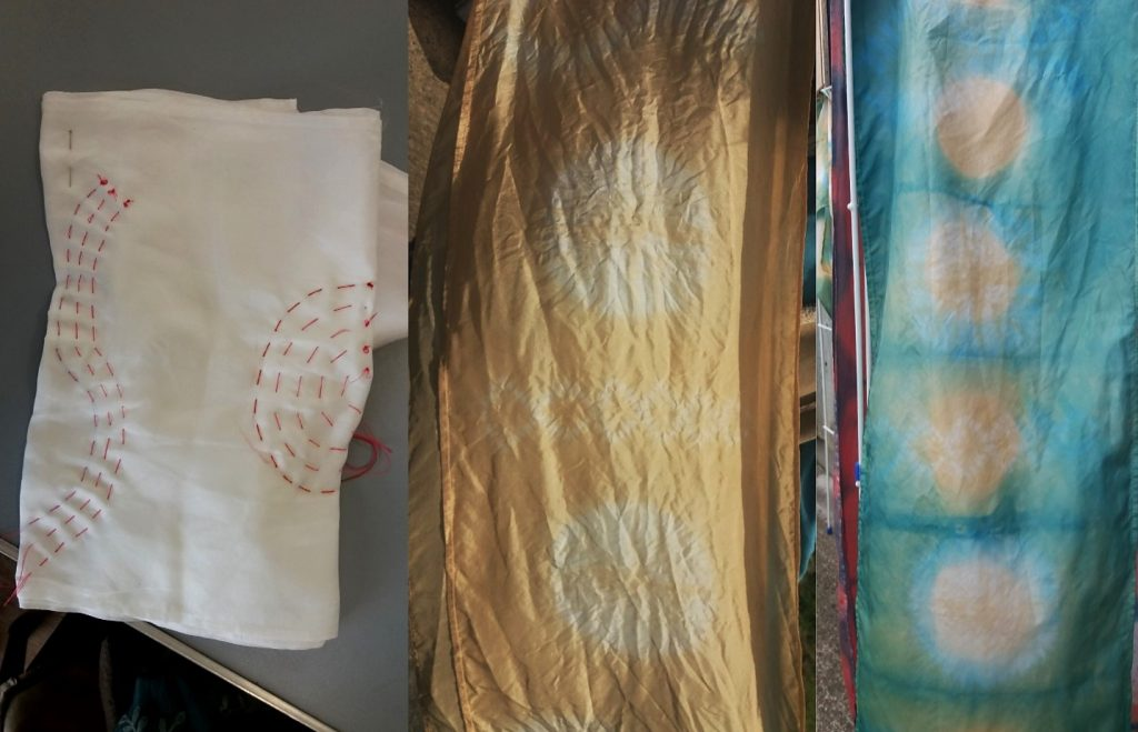 fustic and indigo + shibori stitching