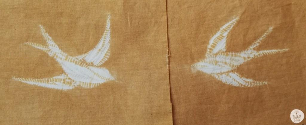 shibori swallows on gold
