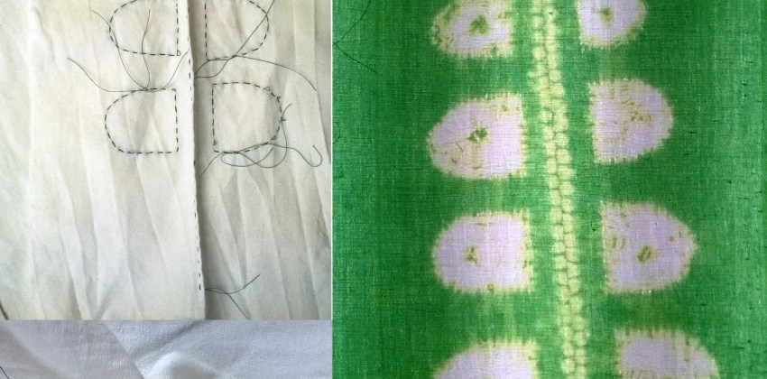 How to Make 2 Simple Leaf Designs in Stitch Resist Shibori