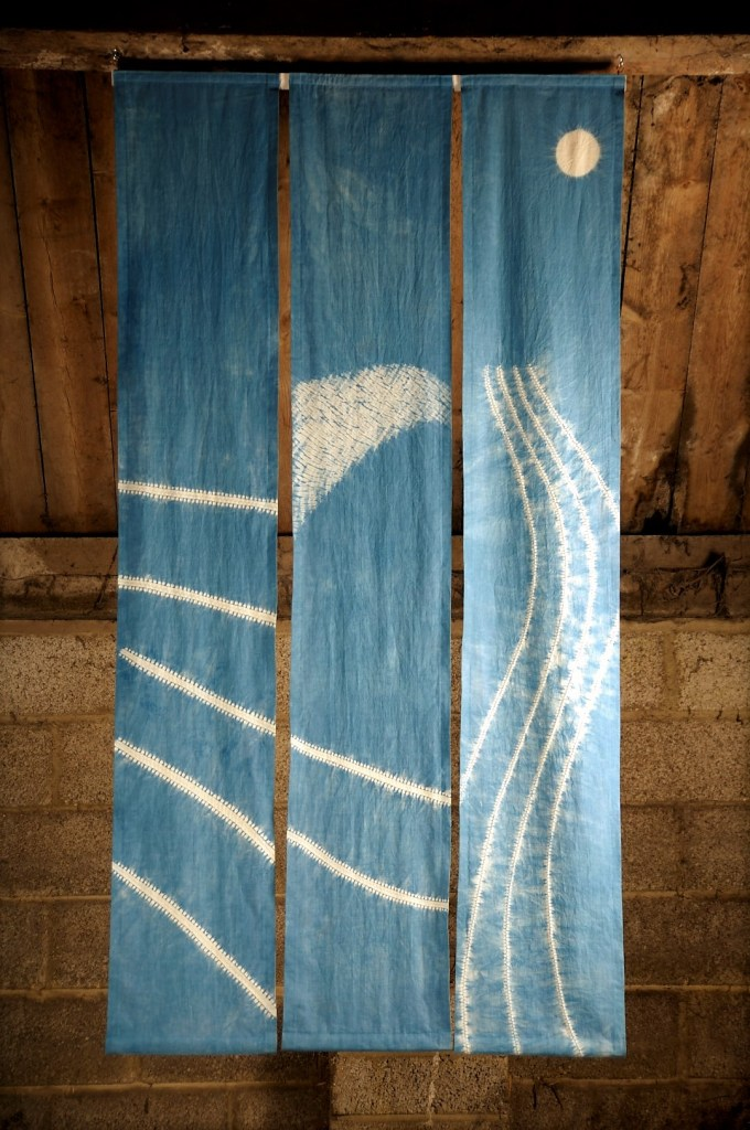 indigo shibori hanging