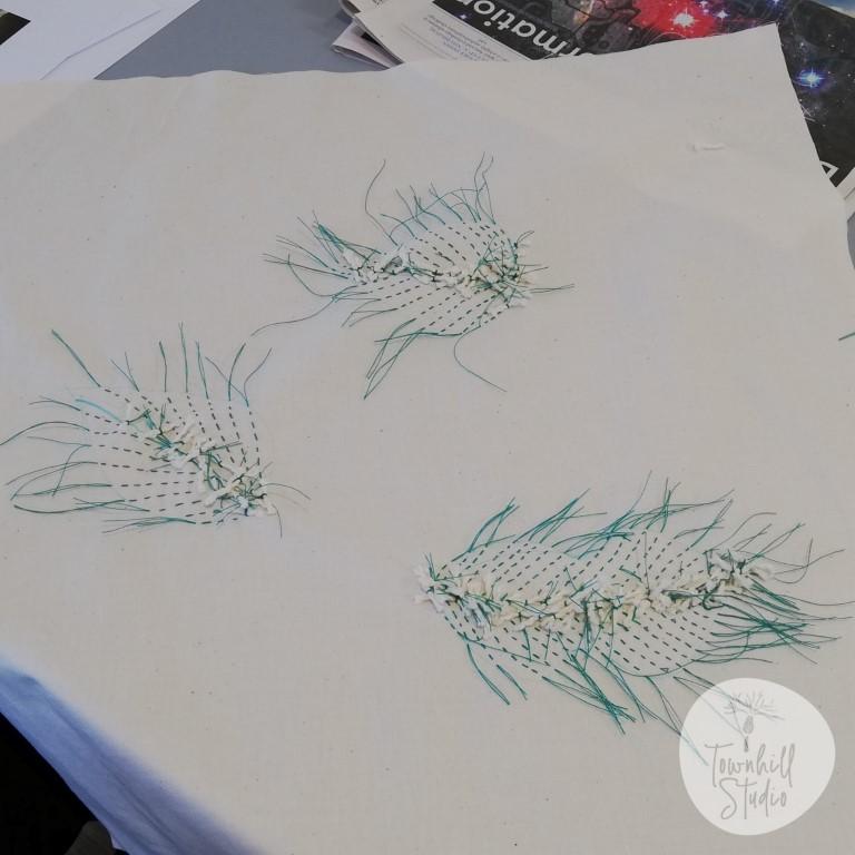 mokume shibori leaf stitching