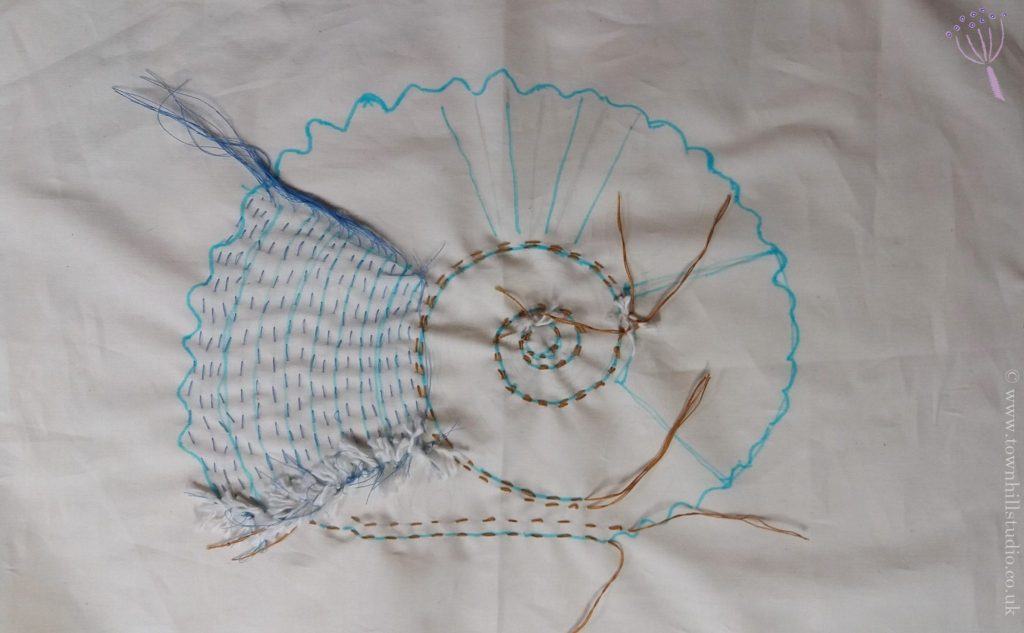 shibori ammonite teal stitching