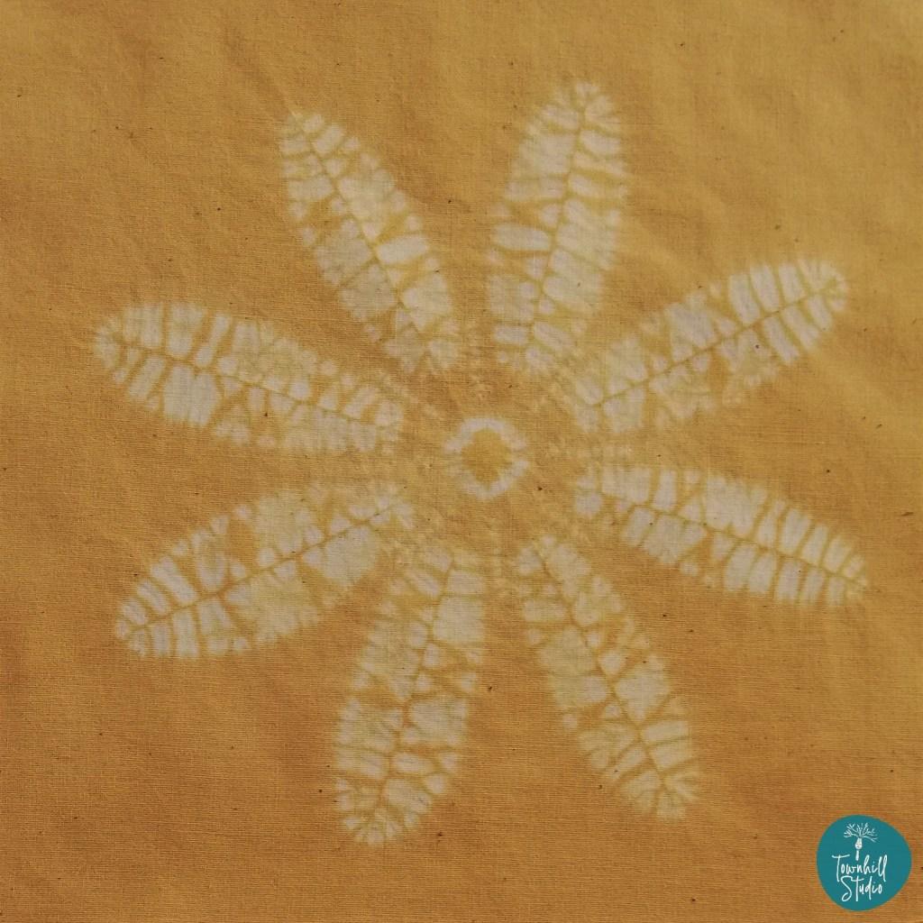 golden yellow dyed final shibori celandine design