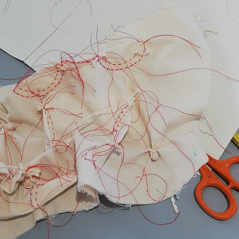 shibori circle pattern stitching